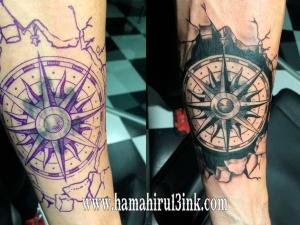 Tatuaje rosa de los vientos Hamahiru 13 Ink Tattoo & Piercing