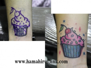Tatuaje pastel cover up de colores