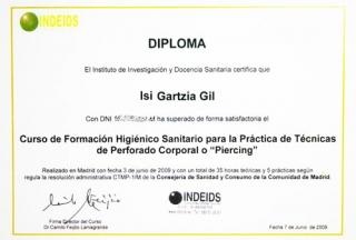 Diploma formación higiénico santiaria de piercing