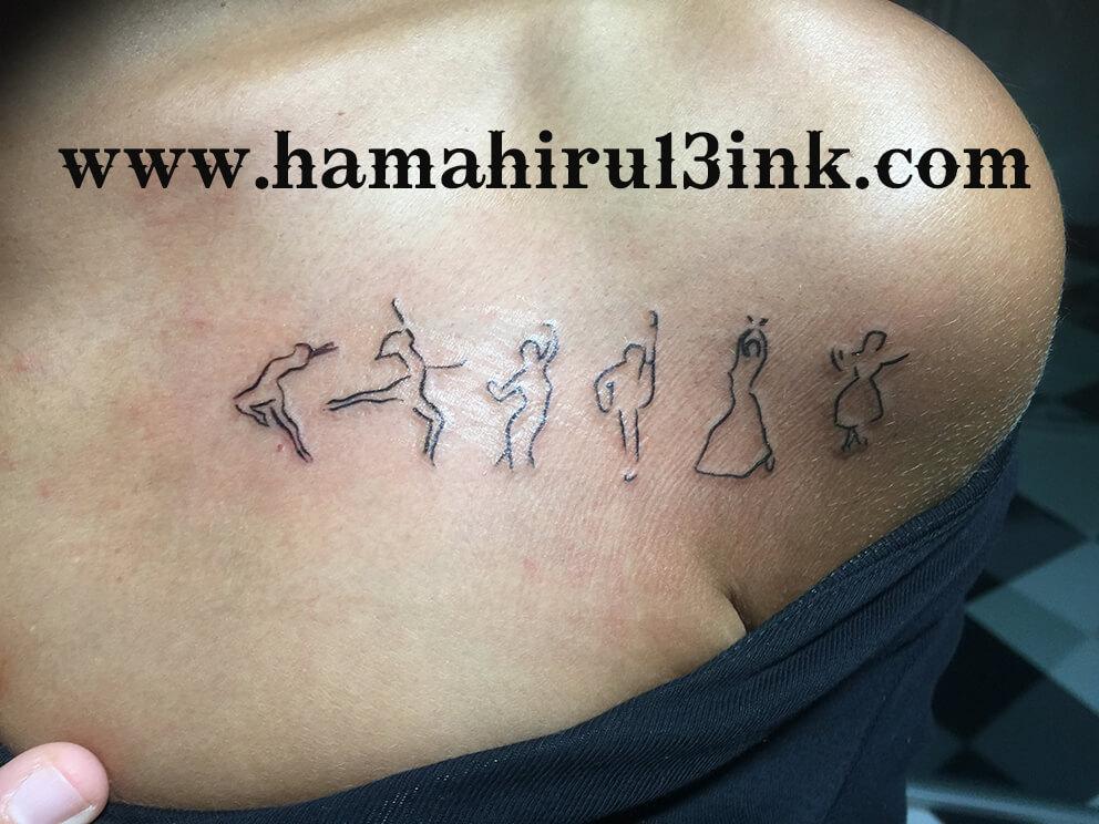 Tatuaje siluetas y estrellas Hamahiru 13 Ink Tattoo & Piercing
