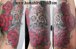 Tatuaje calavera mejicana Hamahiru 13 Ink Iker 1