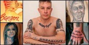 Carl McCoid y algunos de sus tatuajes de Miley Cyrus.
