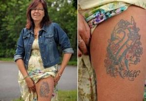 Sharon Britt luciendo su tatuaje hecho con las cenizas de su marido.